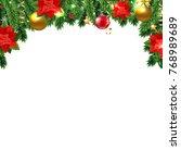christmas poinsettia and fir... | Shutterstock . vector #768989689
