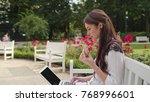 beautiful brunnette lady... | Shutterstock . vector #768996601