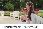 beautiful brunnette lady... | Shutterstock . vector #768996631