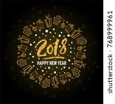 happy new year 2018 lettering.... | Shutterstock .eps vector #768999961