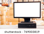 computer with blank screen in... | Shutterstock . vector #769003819