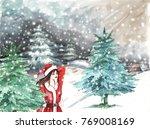 Watercolor Winter Landscape...