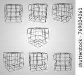 Wireframe 3d Cube At Different...