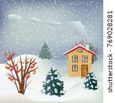 vector snowfall landscape with... | Shutterstock .eps vector #769028281
