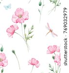 watercolor floral pattern  pink ... | Shutterstock . vector #769032979