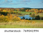 colorful autumn landscape with... | Shutterstock . vector #769041994