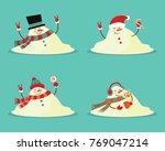snowman melted. flat vector... | Shutterstock .eps vector #769047214
