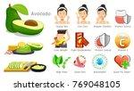 benefits of avocado. body care... | Shutterstock .eps vector #769048105