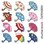 Cartoon Umbrellas Icon Set