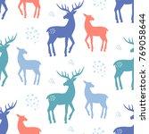 scandinavian deer christmas... | Shutterstock .eps vector #769058644