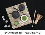 matcha green tea ceremony with...   Shutterstock . vector #769058749