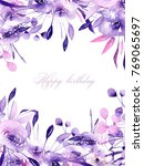 floral design card with... | Shutterstock . vector #769065697