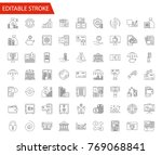 banking vector icon set. thin... | Shutterstock .eps vector #769068841