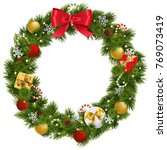 vector christmas wreath with... | Shutterstock .eps vector #769073419