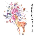 watercolor floral greeting card ... | Shutterstock . vector #769078264