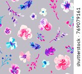 watercolor flower seamless... | Shutterstock . vector #769079161