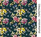 watercolor flower seamless... | Shutterstock . vector #769079461