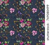watercolor flower seamless... | Shutterstock . vector #769080499