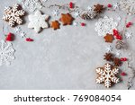 christmas background with twigs ...   Shutterstock . vector #769084054