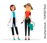 doctor in white coat and... | Shutterstock . vector #769087564