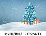 decorated christmas tree with...   Shutterstock . vector #769092955