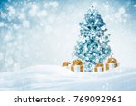 decorated christmas tree with... | Shutterstock . vector #769092961