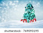 decorated christmas tree with...   Shutterstock . vector #769093195