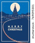big christmas tree with city... | Shutterstock .eps vector #769095301