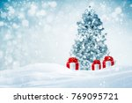 decorated christmas tree with... | Shutterstock . vector #769095721