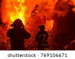 fire in the house at night.... | Shutterstock . vector #769106671