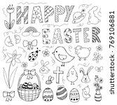 hand drawn easter doodles set... | Shutterstock .eps vector #769106881