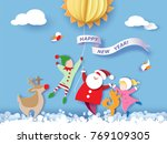 color paper cut design and... | Shutterstock .eps vector #769109305