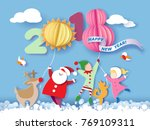 color paper cut design and... | Shutterstock .eps vector #769109311