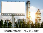 blank billboard with oil... | Shutterstock . vector #769113589