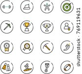 line vector icon set   barbell... | Shutterstock .eps vector #769119631