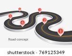 winding 3d road infographic... | Shutterstock .eps vector #769125349