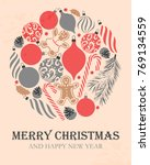 merry christmas greeting... | Shutterstock .eps vector #769134559