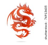 Glass Red Dragon Sign