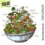 sketch vegetables salad with... | Shutterstock .eps vector #769139629