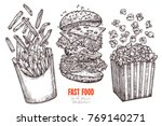 sketch flying fast food... | Shutterstock .eps vector #769140271