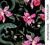 embroidery exotic floral... | Shutterstock .eps vector #769143139