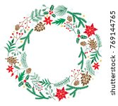 christmas wreath with berries ... | Shutterstock .eps vector #769144765