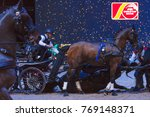 Small photo of SOLNA, SWEDEN - DEC 3, 2017: Tragic death of the horse Luna de Lux during the podium cermony at Sweden International Horse Show at Friends Arena. Fast rescue attempt of all the drivers and vets.