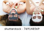 home spa. two women holding... | Shutterstock . vector #769148569