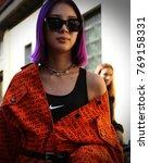 Small photo of MILAN- 22 September 2017 Irene Kim on the street during the Milan Fashion Week