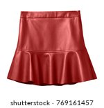 red leather skirt with flounce... | Shutterstock . vector #769161457