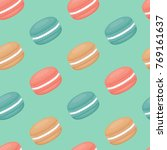 seamless pattern with macaroons.... | Shutterstock .eps vector #769161637