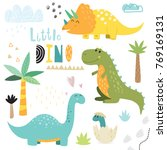 cute hand drawn dinosaurs  | Shutterstock .eps vector #769169131
