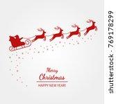 christmas card   santa claus is ... | Shutterstock .eps vector #769178299