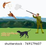 hunter with a hunting dog... | Shutterstock .eps vector #769179607
